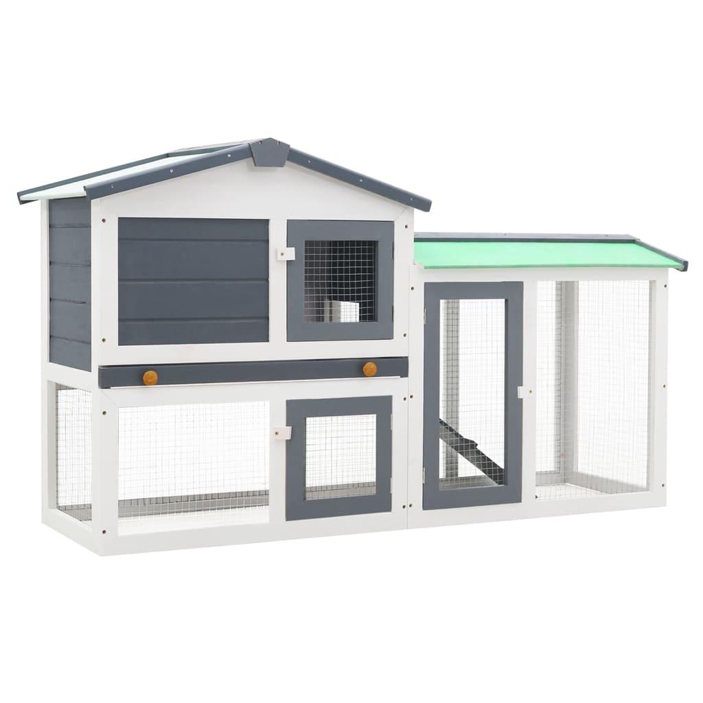 vidaXL Cușcă exterior pentru iepuri mare, gri&alb, 145x45x85 cm, lemn vidaxl.ro