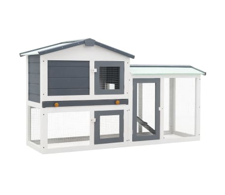 "vidaXL Outdoor Large Rabbit Hutch Gray and White 57.1""x17.7""x33.5"" Wood"