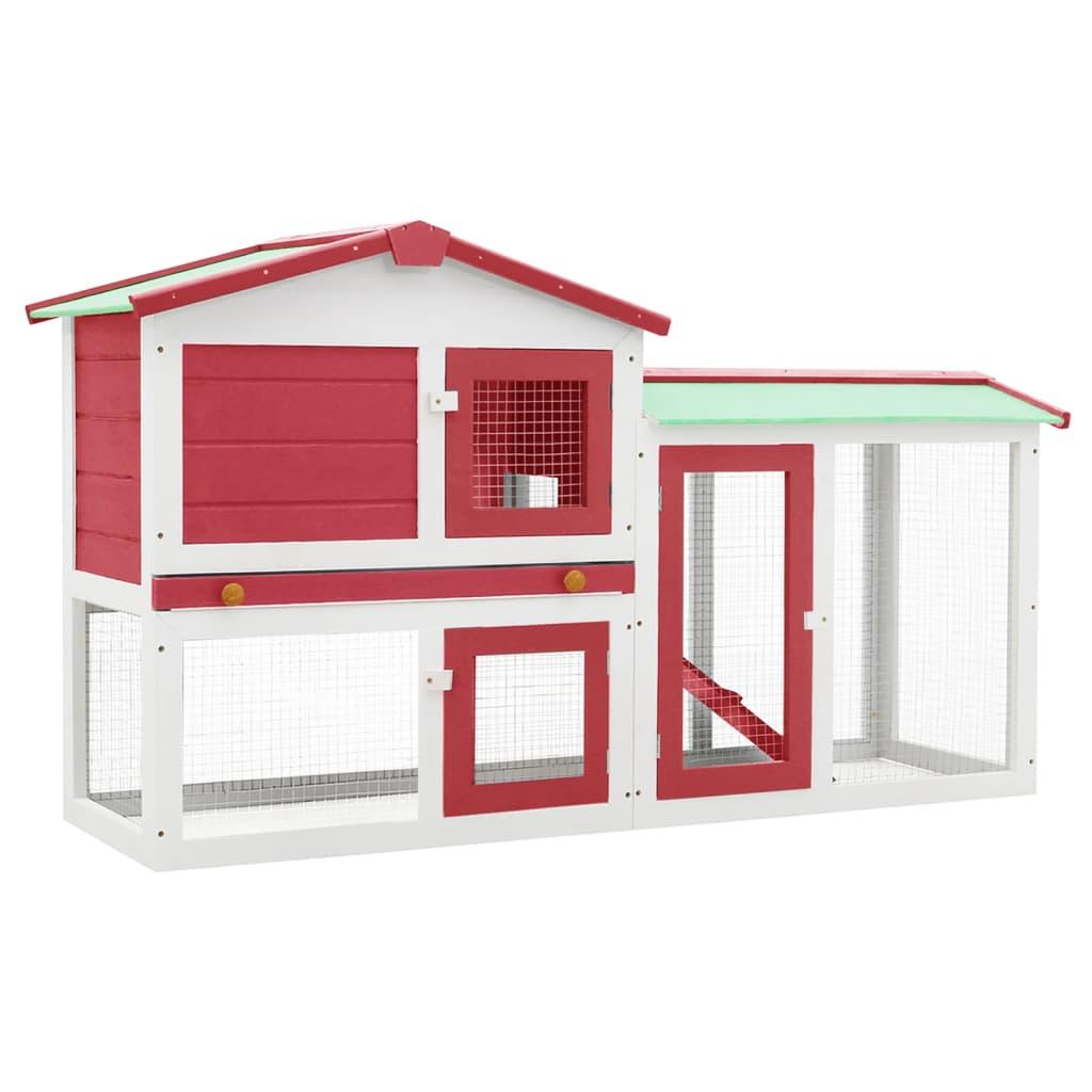 vidaXL Cușcă exterior pentru iepuri mare roșu&alb 145x45x85 cm lemn vidaxl.ro