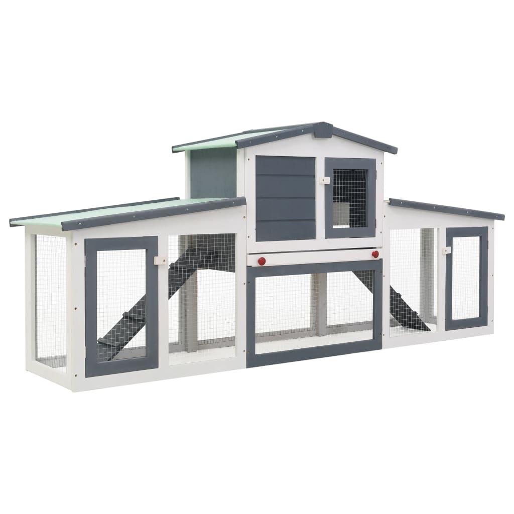 vidaXL Cușcă exterior pentru iepuri mare, gri&alb, 204x45x85 cm, lemn imagine vidaxl.ro