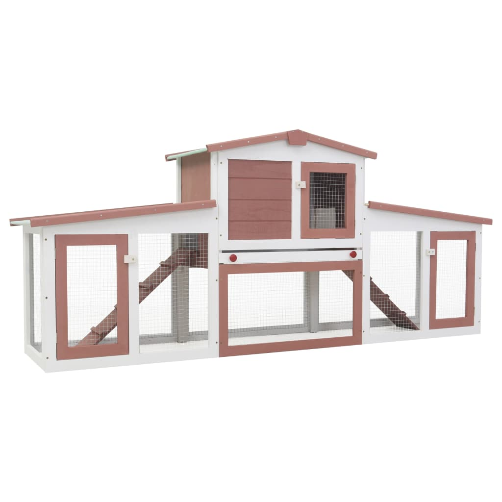 vidaXL Cușcă exterior pentru iepuri mare maro & alb 204x45x85 cm lemn vidaxl.ro