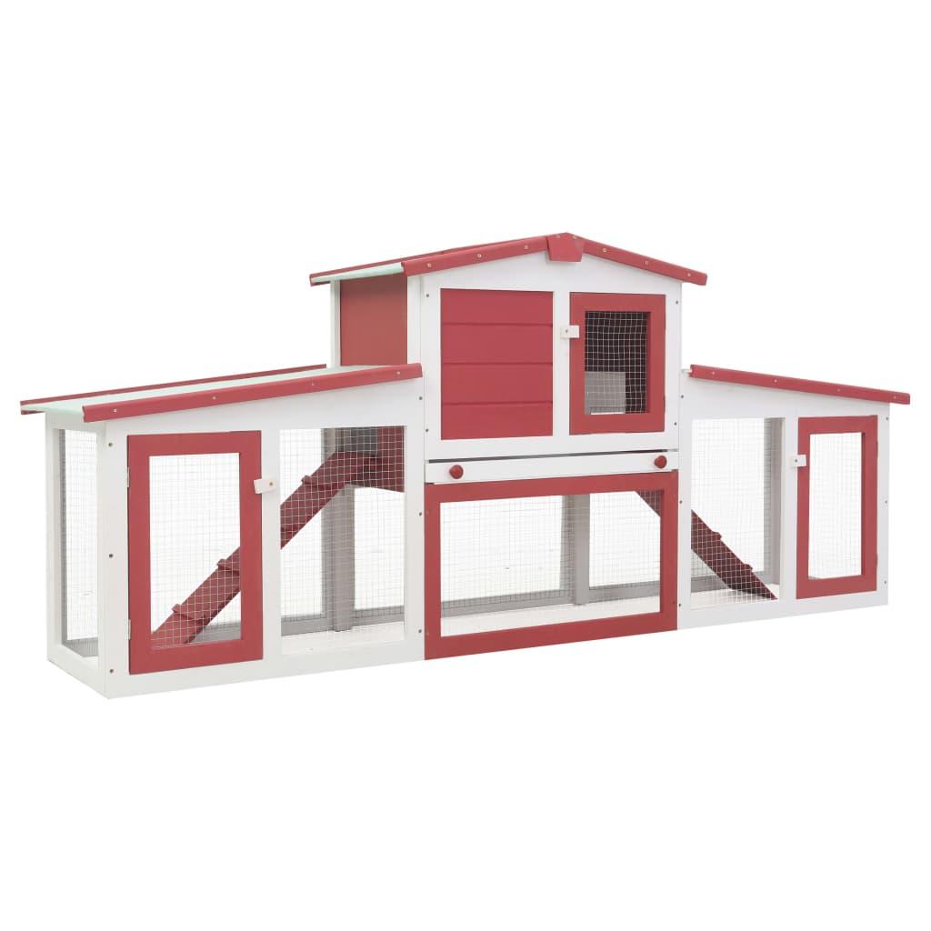 vidaXL Cușcă exterior pentru iepuri mare roșu&alb 204x45x85 cm lemn imagine vidaxl.ro