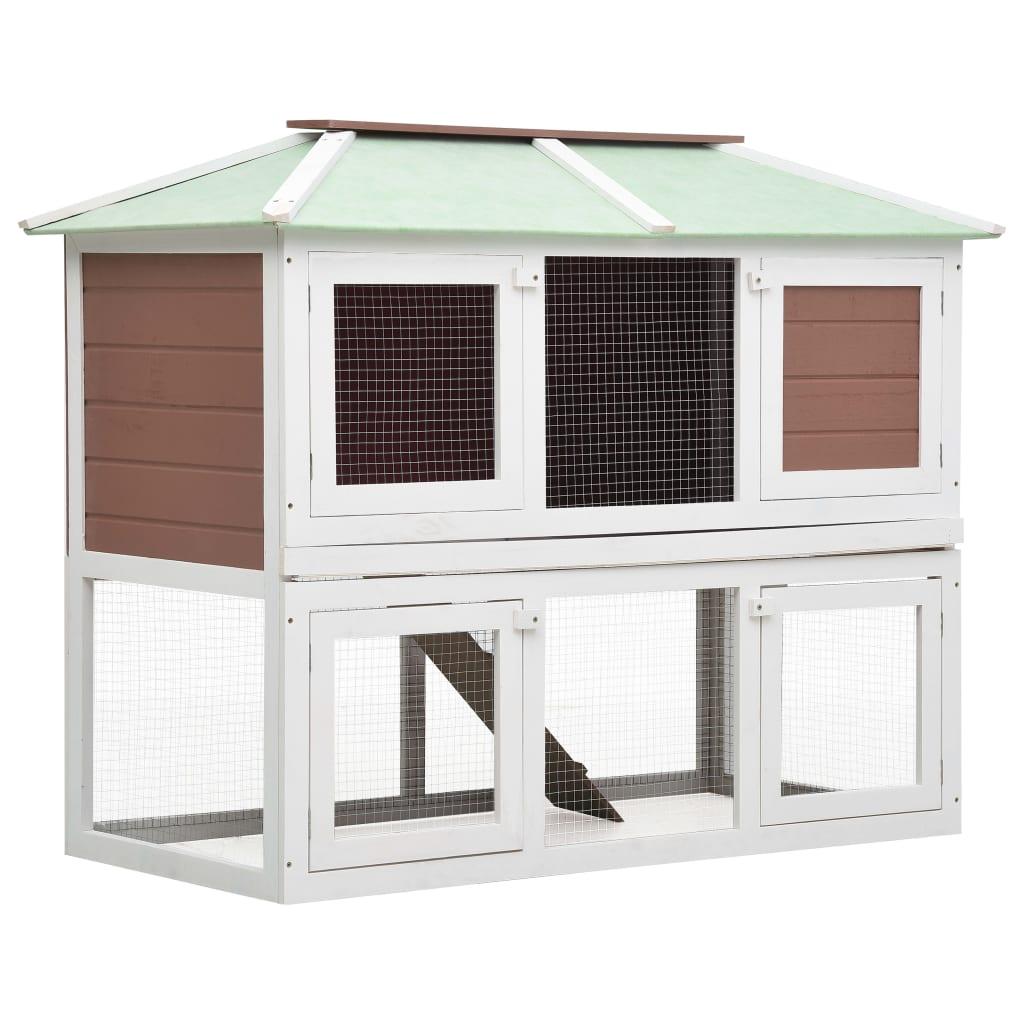 vidaXL Cușcă pentru iepuri și alte animale, 2 niveluri, maro, lemn vidaxl.ro