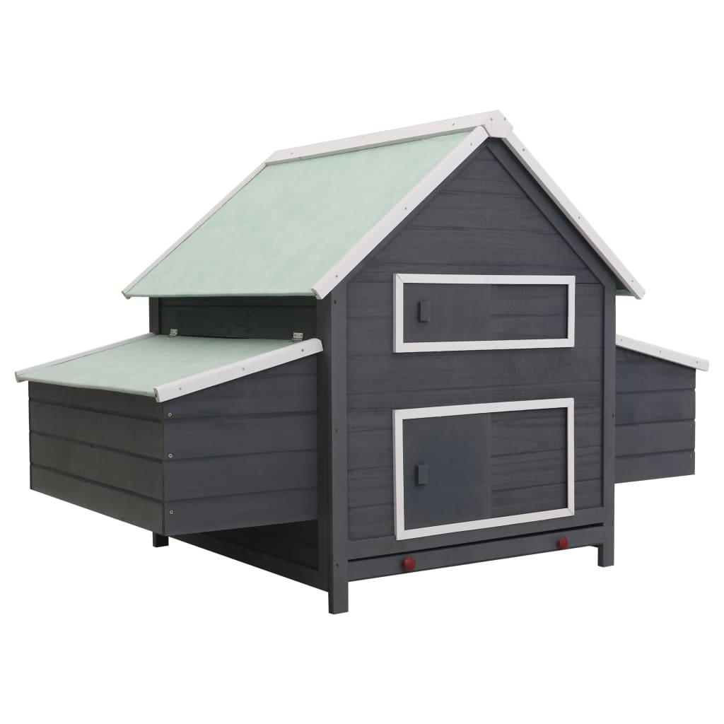 Kurník šedý 157 x 97 x 110 cm dřevo