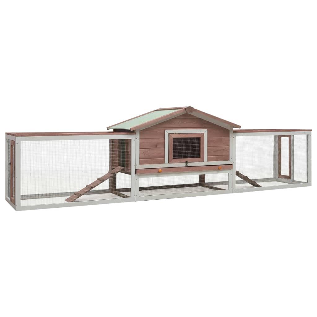 vidaXL Cușcă iepuri, cafeniu, 303x60x86 cm, lemn masiv de pin & brad imagine vidaxl.ro