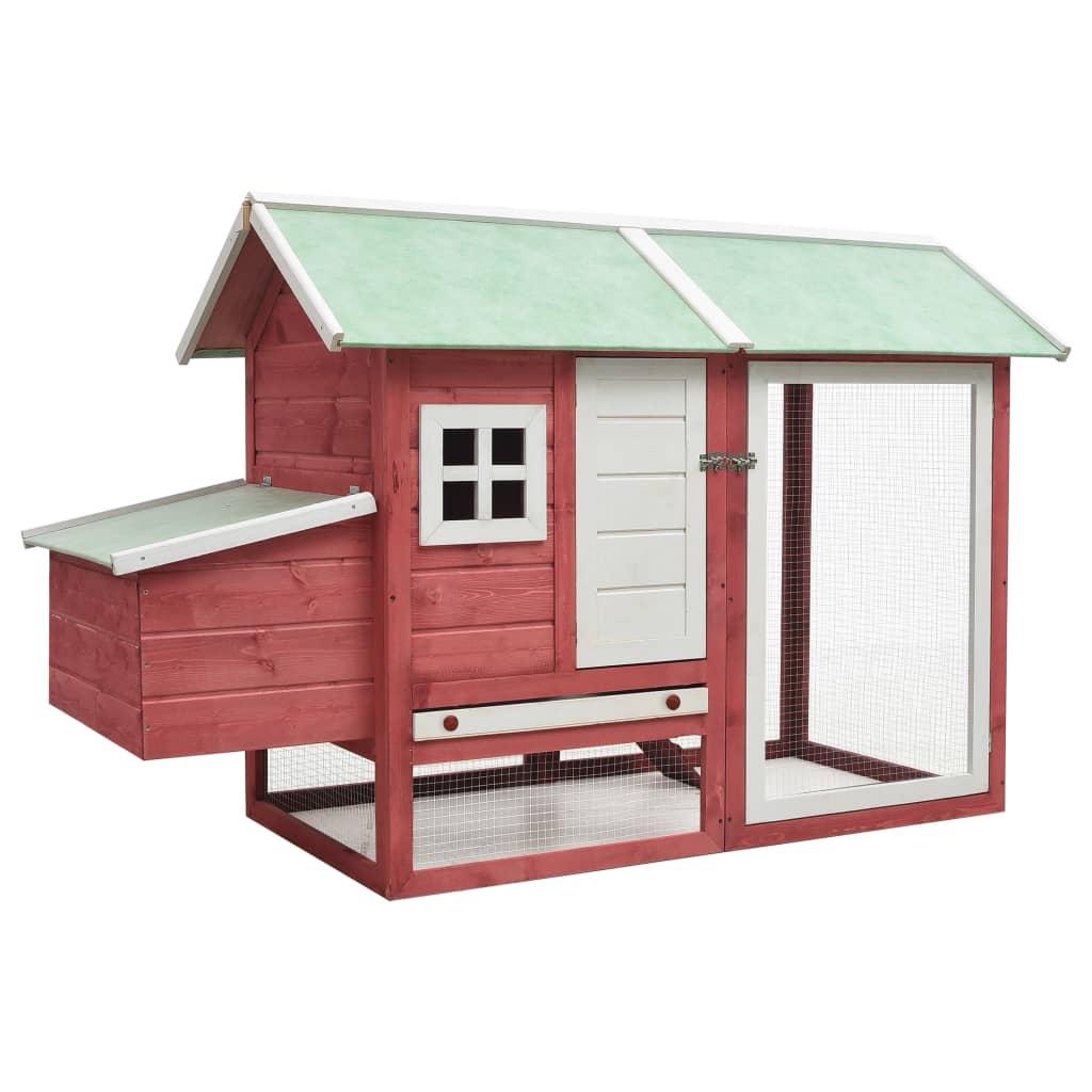 vidaXL Coteț de găini, roșu, 170 x 81 x 110 cm lemn masiv pin & brad vidaxl.ro