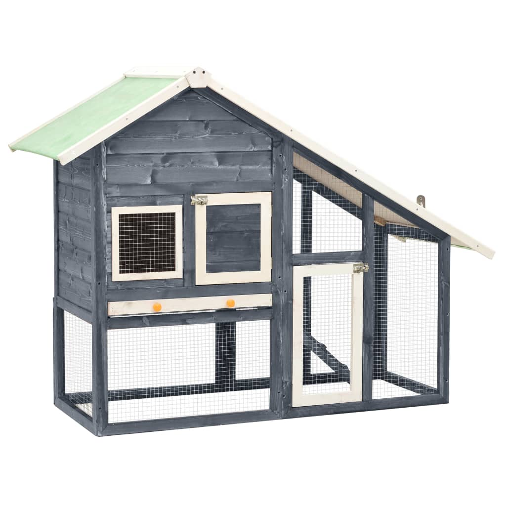 vidaXL Cușcă iepuri, gri/alb,140 x 63 x 120 cm, lemn masiv de brad imagine vidaxl.ro