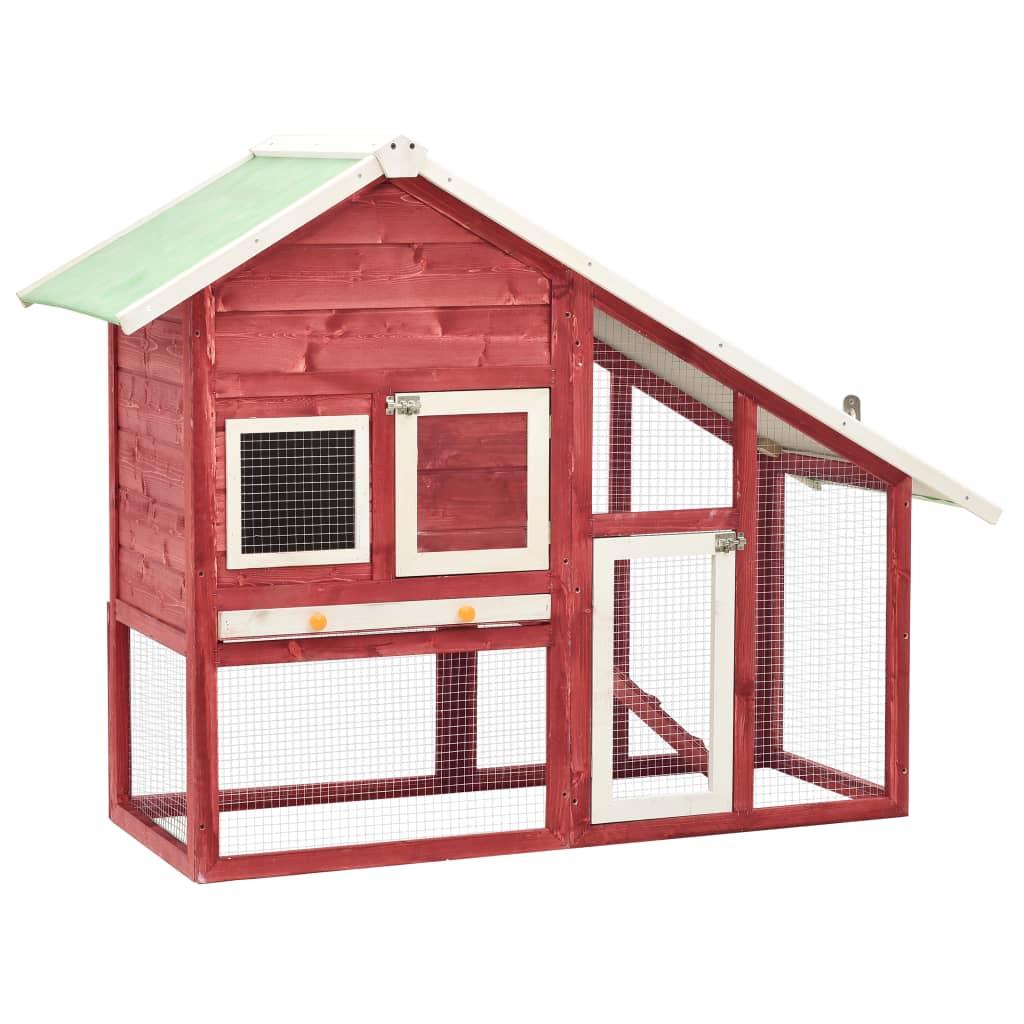 vidaXL Cușcă iepuri, roșu/alb,140 x 63 x 120 cm, lemn masiv de brad poza vidaxl.ro