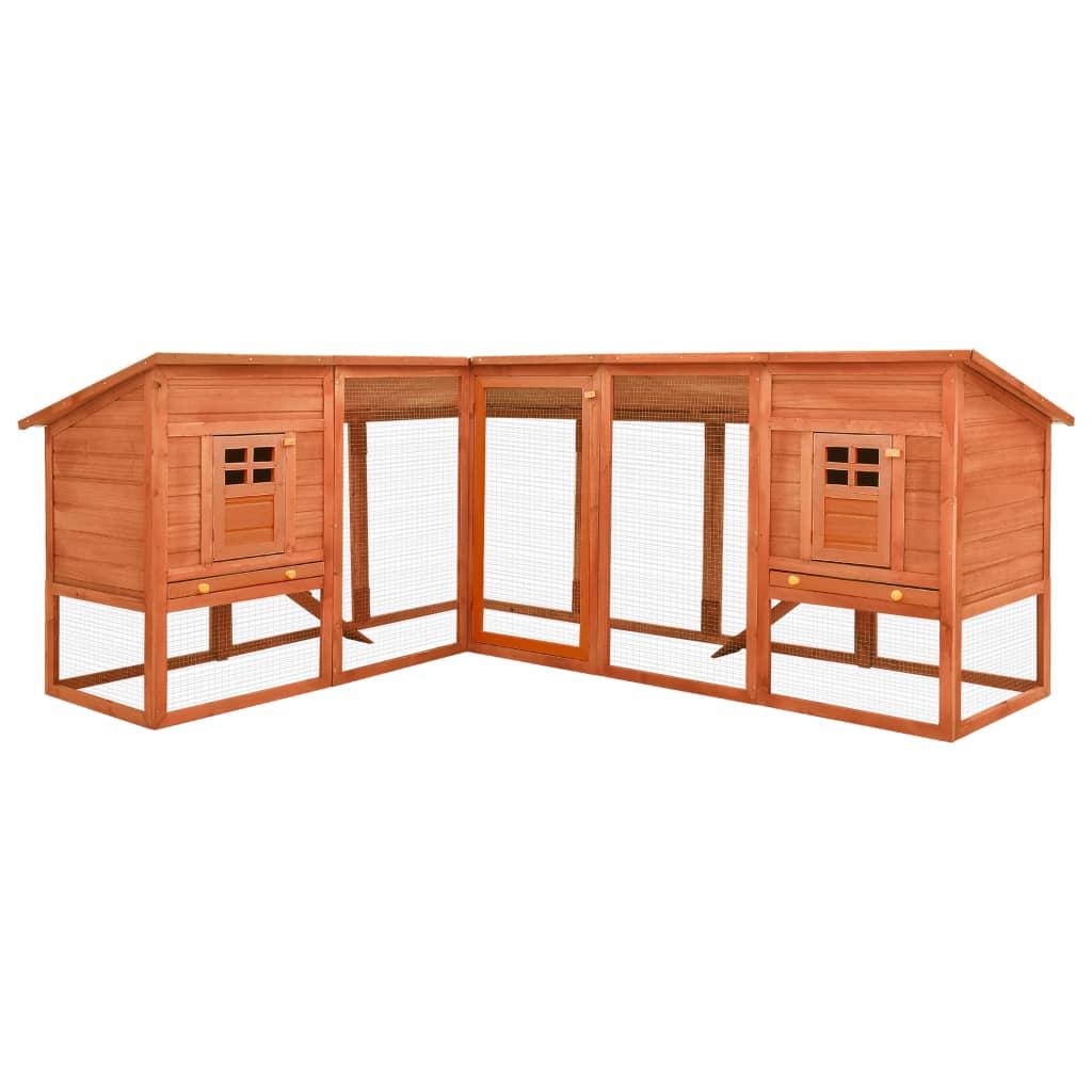 vidaXL Cușcă de iepuri exterior, spațiu de joacă, maro, lemn de brad poza vidaxl.ro