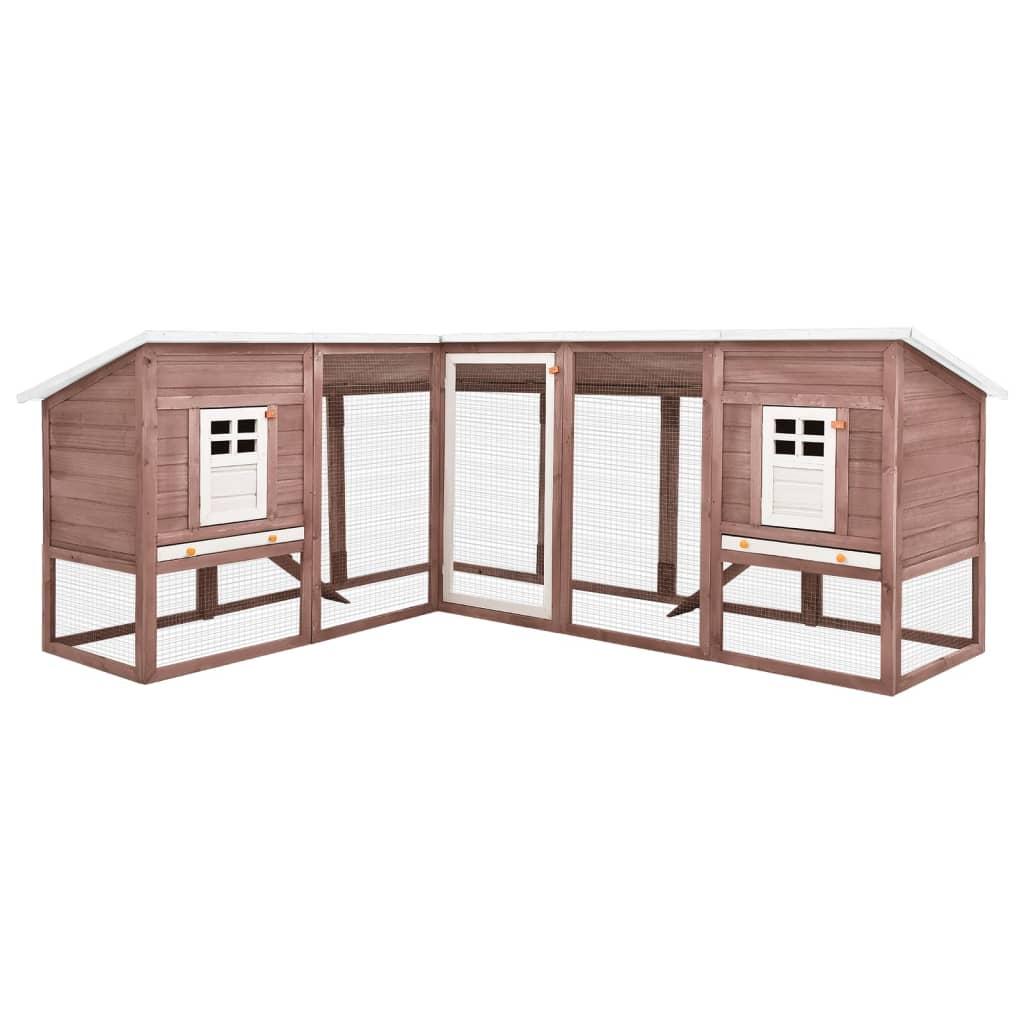 vidaXL Cușcă iepuri exterior, spațiu de joacă, cafeniu/alb, lemn brad imagine vidaxl.ro