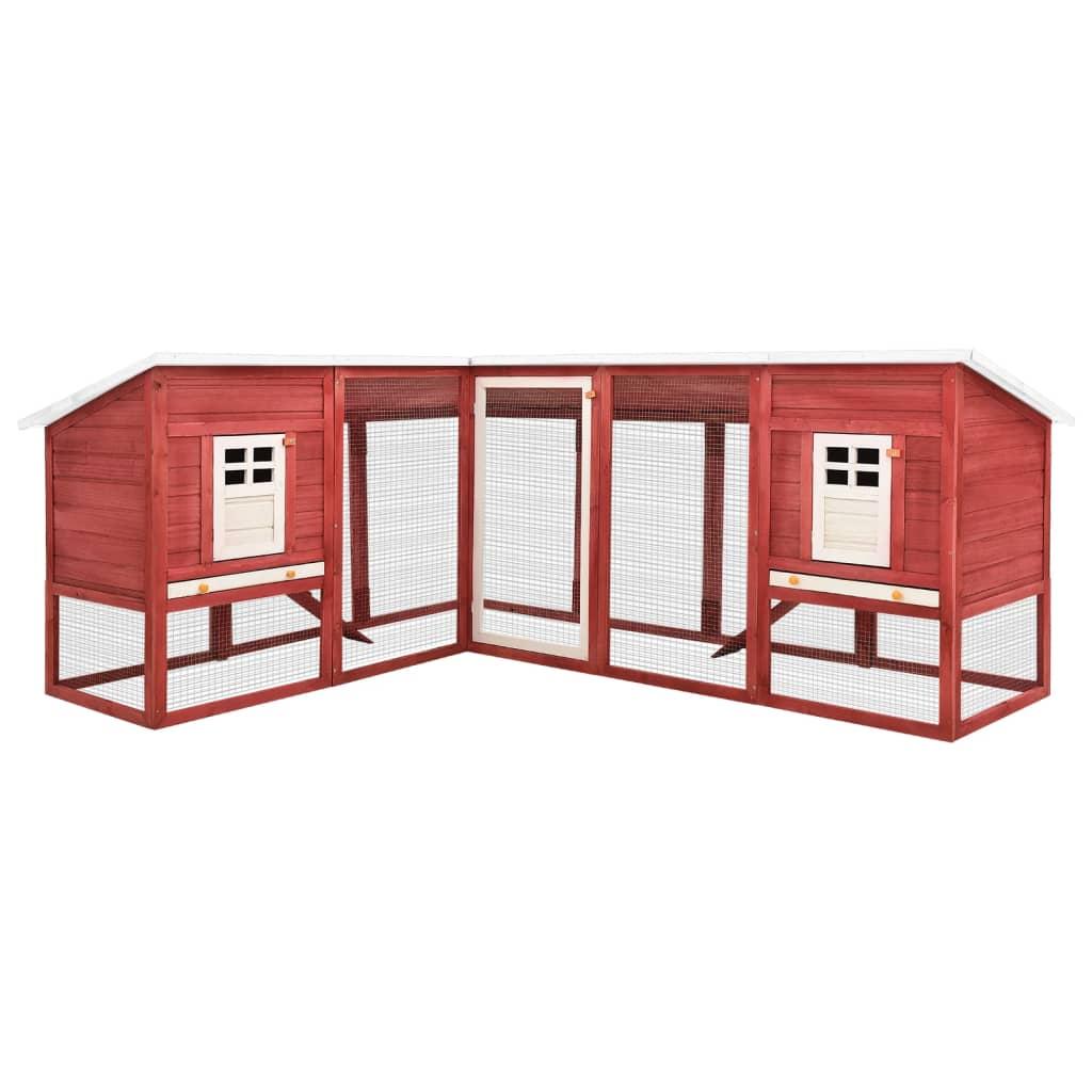vidaXL Cușcă iepuri exterior, spațiu de joacă, roșu/alb, lemn de brad poza vidaxl.ro