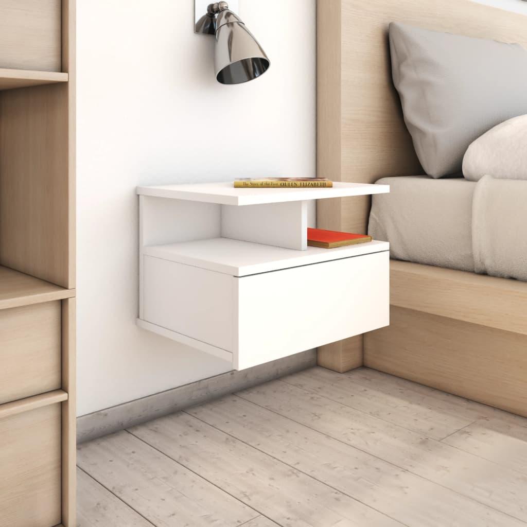vidaXL Nástěnný noční stolek bílý 40 x 31 x 27 cm dřevotříska