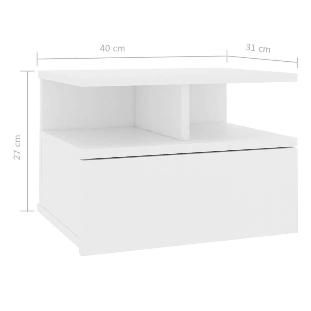 vidaXL Nachtkastjes zwevend 2 st 40x31x27 cm spaanplaat wit