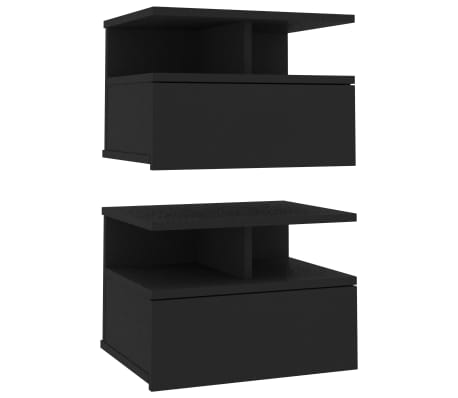 vidaXL Floating Nightstands 2 pcs Black 40x31x27 cm Chipboard