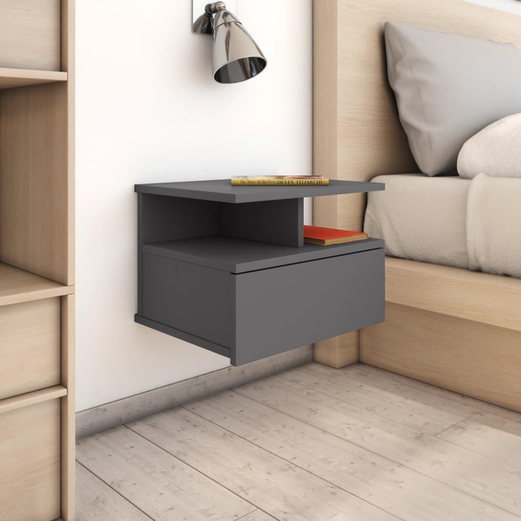 vidaXL Nástěnný noční stolek šedý 40 x 31 x 27 cm dřevotříska