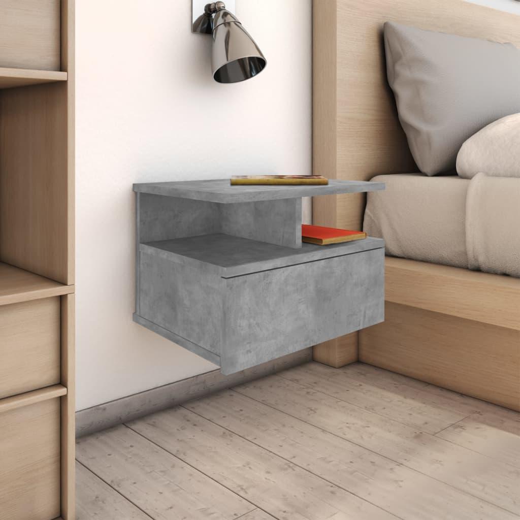 vidaXL Nástěnný noční stolek beronově šedý 40 x 31 x 27 cm dřevotříska