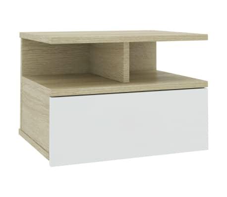 vidaXL Noptieră suspendată, alb & stejar Sonoma, 40x31x27 cm, PAL