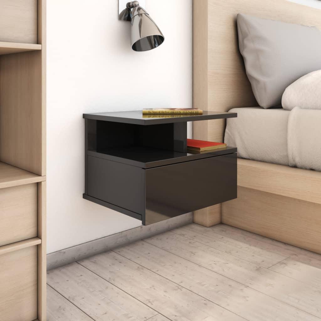 vidaXL svævende natborde 2 stk. 40x31x27 cm spånplade sort højglans