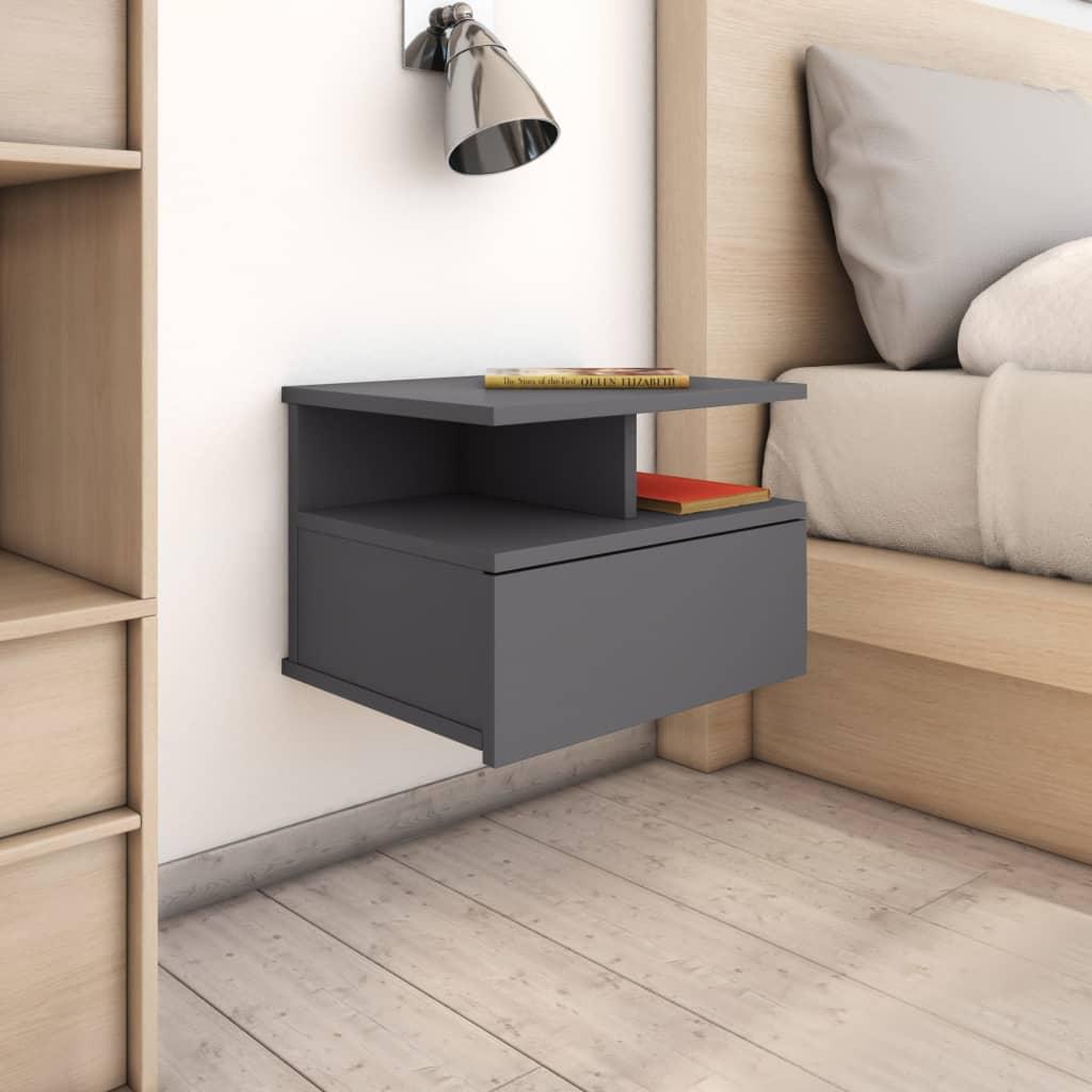 vidaXL Nástěnný noční stolek šedý vysoký lesk 40x31x27 cm dřevotříska