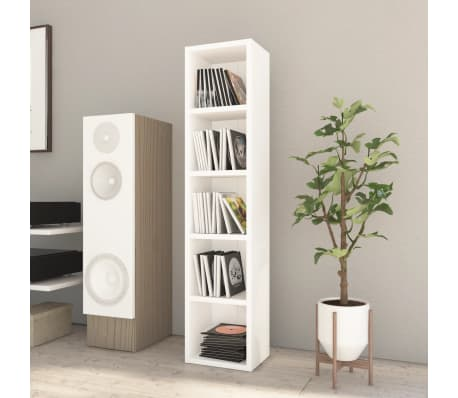 "vidaXL CD Cabinet White 8.2""x6.2""x36.8"" Chipboard[1/6]"