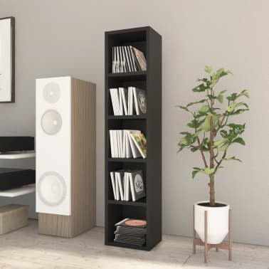"vidaXL CD Cabinet Black 8.2""x6.2""x36.8"" Chipboard[1/6]"
