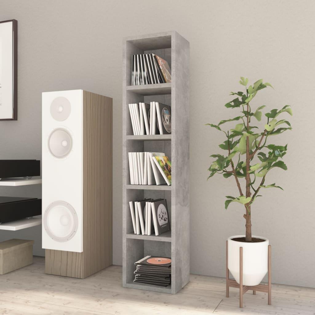 vidaXL Dulap pentru CD-uri, gri beton, 21 x 16 x 93,5 cm, PAL imagine vidaxl.ro