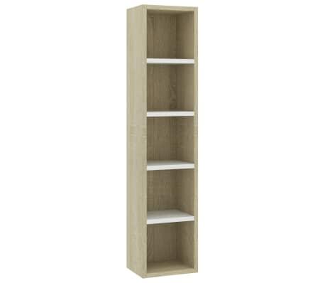 "vidaXL CD Cabinet White and Sonoma Oak 8.2""x6.2""x36.8"" Chipboard[2/6]"