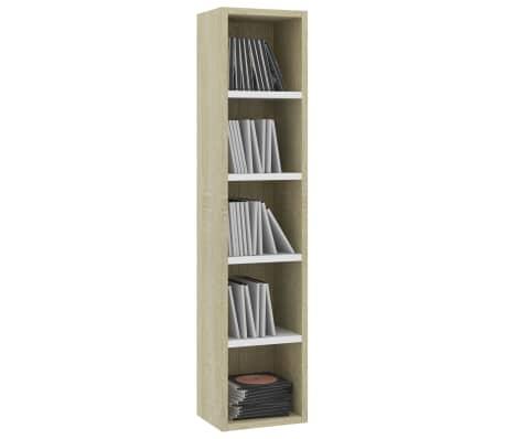 "vidaXL CD Cabinet White and Sonoma Oak 8.2""x6.2""x36.8"" Chipboard[3/6]"