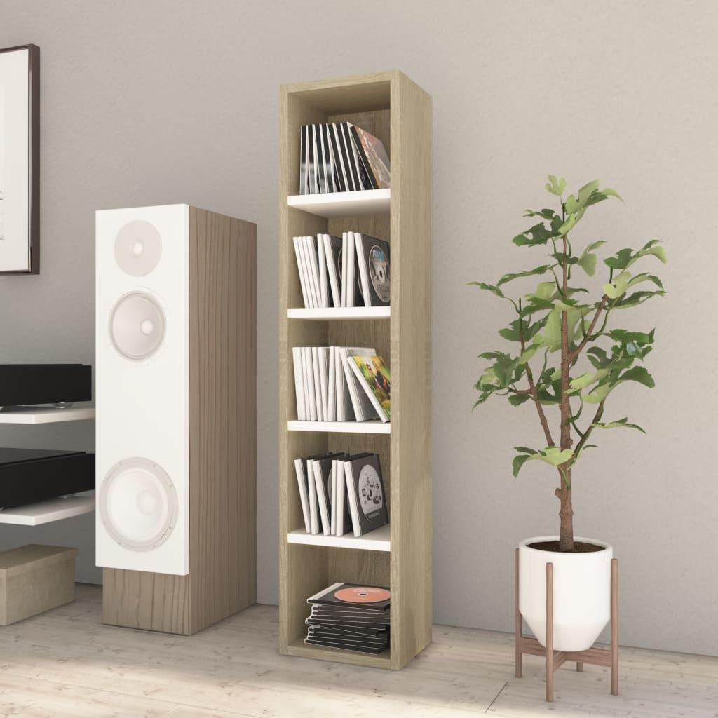 vidaXL Dulap pentru CD-uri, alb și stejar Sonoma, 21x16x93,5 cm, PAL imagine vidaxl.ro