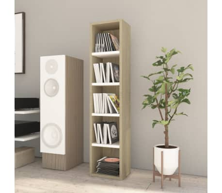 "vidaXL CD Cabinet White and Sonoma Oak 8.2""x6.2""x36.8"" Chipboard[1/6]"