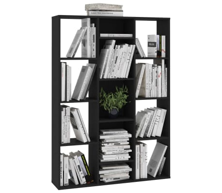 "vidaXL Room Divider/Book Cabinet Black 39.3""x9.4""x55.1"" Chipboard[4/7]"