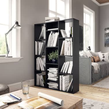 "vidaXL Room Divider/Book Cabinet Black 39.3""x9.4""x55.1"" Chipboard[3/7]"