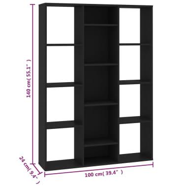 "vidaXL Room Divider/Book Cabinet Black 39.3""x9.4""x55.1"" Chipboard[7/7]"