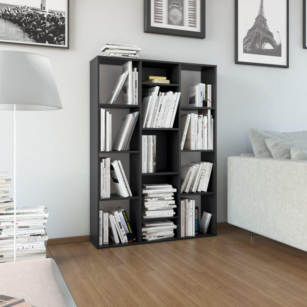 vidaXL Separator cameră/Bibliotecă, negru, 100 x 24 x 140 cm, PAL vidaxl.ro