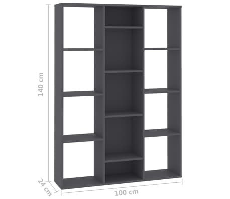 "vidaXL Room Divider/Book Cabinet Gray 39.3""x9.4""x55.1"" Chipboard[7/7]"