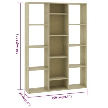"vidaXL Room Divider/Book Cabinet Sonoma Oak 39.3""x9.4""x55.1"" Chipboard[7/7]"