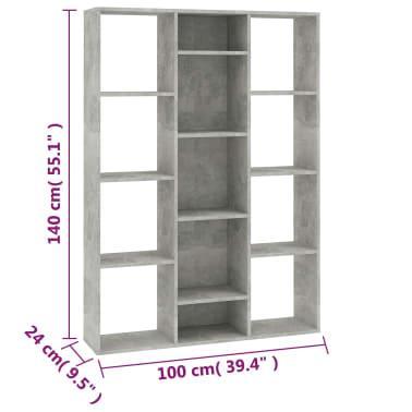 "vidaXL Room Divider/Book Cabinet Concrete Gray 39.3""x9.4""x55.1"" Chipboard[7/7]"