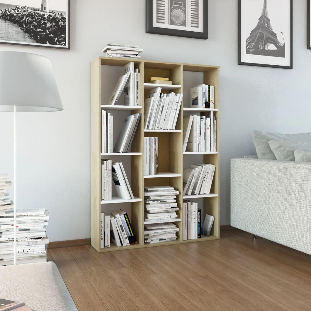 vidaXL Separator cameră/Bibliotecă, alb și stejar, 100x24x140 cm, PAL vidaxl.ro