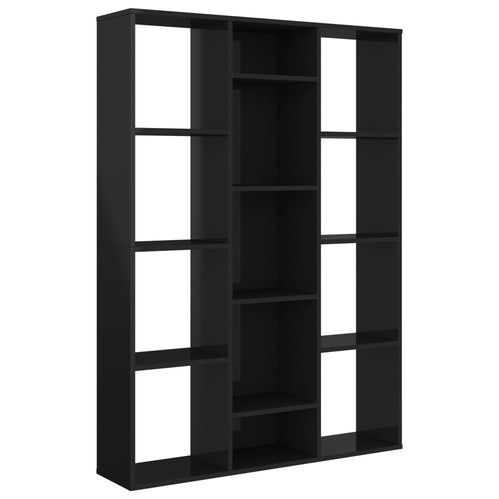 99800448 Raumteiler/Bücherregal Hochglanz-Schwarz 100×24×140 cm