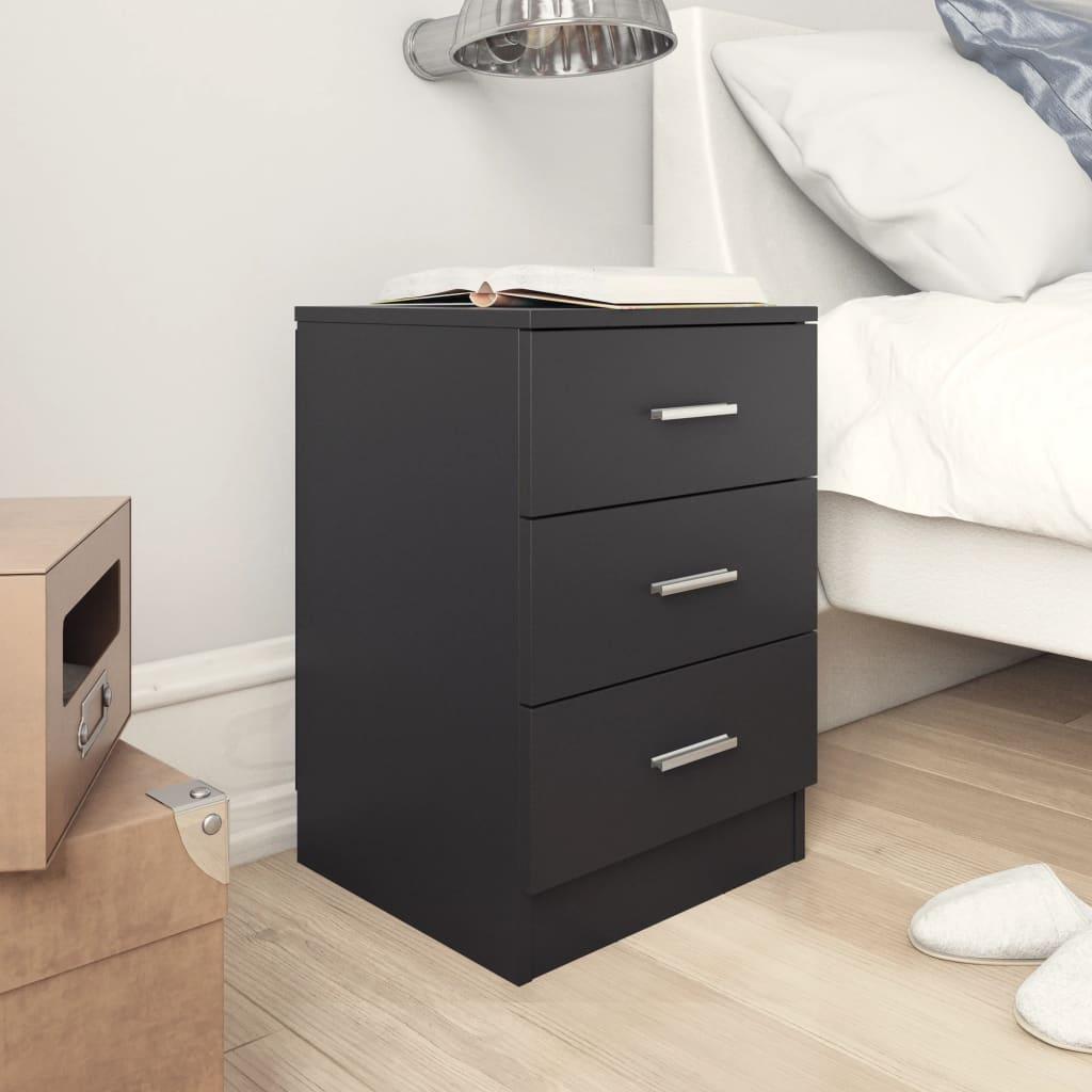 vidaXL Noční stolek černý 38 x 35 x 56 cm dřevotříska