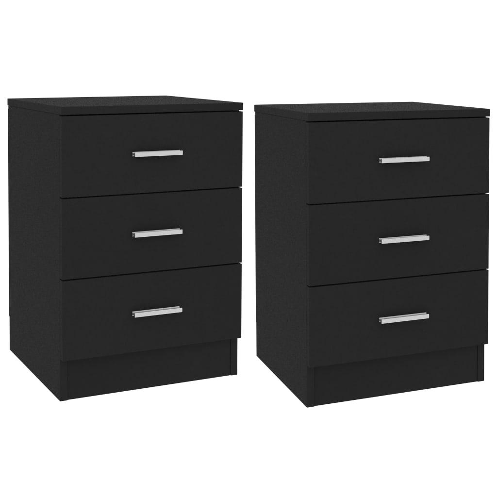 vidaXL Noptiere, 2 buc., negru, 38 x 35 x 56 cm, PAL imagine vidaxl.ro