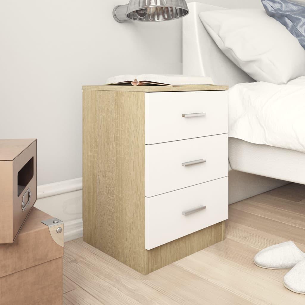 Noční stolek bílý a dub sonoma 38 x 35 x 56 cm dřevotříska