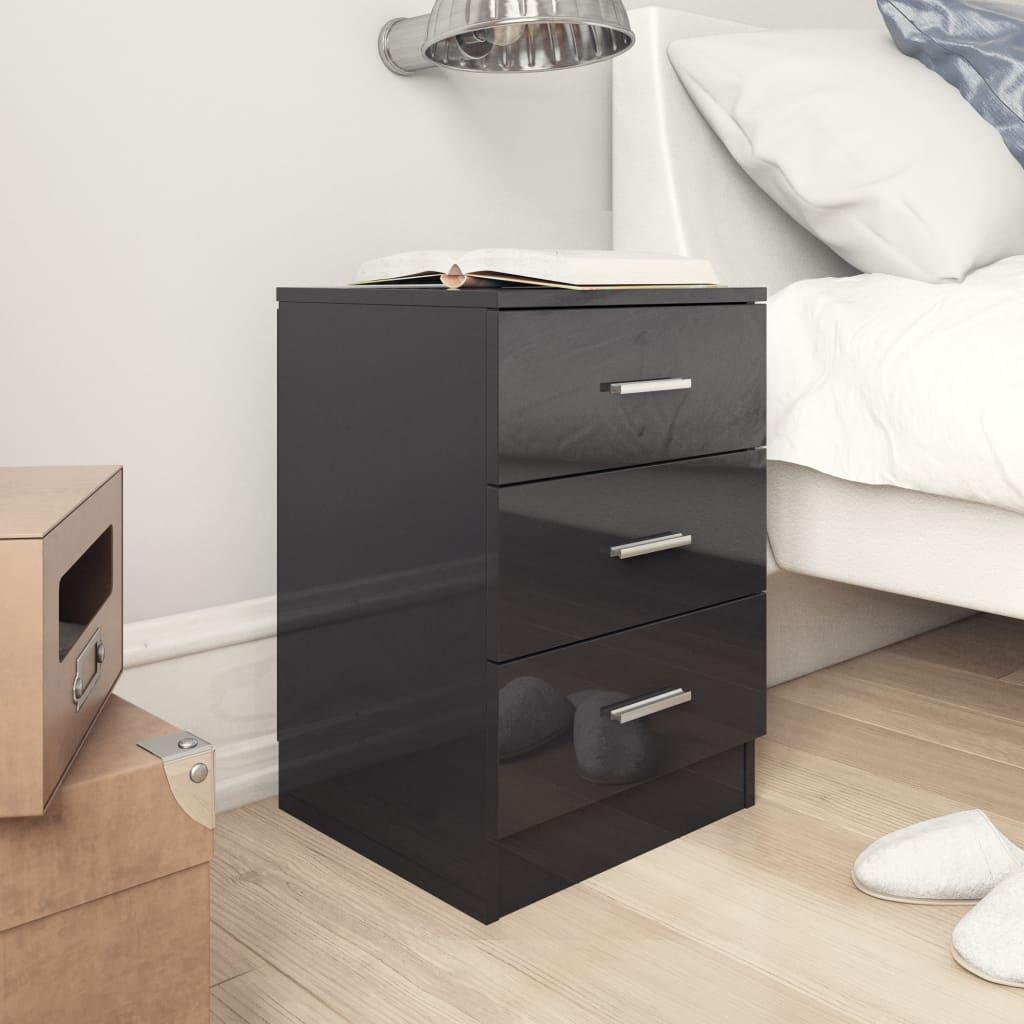 vidaXL Noptieră, negru extralucios, 38 x 35 x 56 cm, PAL vidaxl.ro