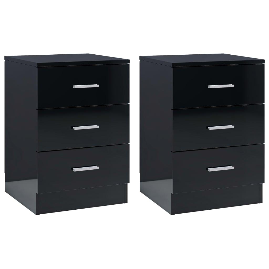 vidaXL Szafki nocne, 2 szt., wysoki połysk, czarne, 38x35x56 cm