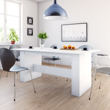 "vidaXL Dining Table White 70.8""x35.4""x29.9"" Chipboard[1/6]"