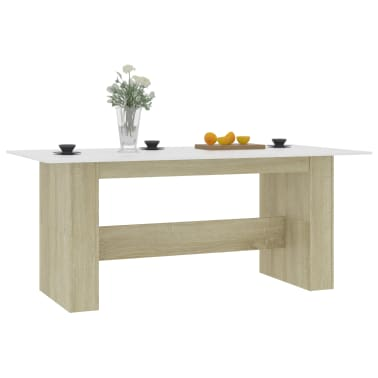 """vidaXL Dining Table White and Sonoma Oak 70.8""""x35.4""""x29.9"""" Chipboard[3/6]"""