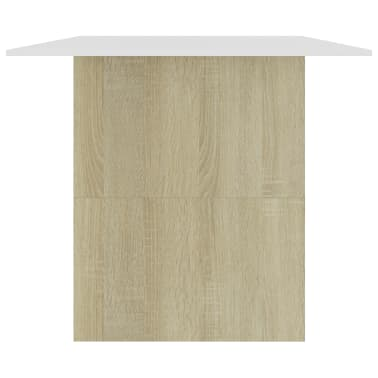 """vidaXL Dining Table White and Sonoma Oak 70.8""""x35.4""""x29.9"""" Chipboard[5/6]"""