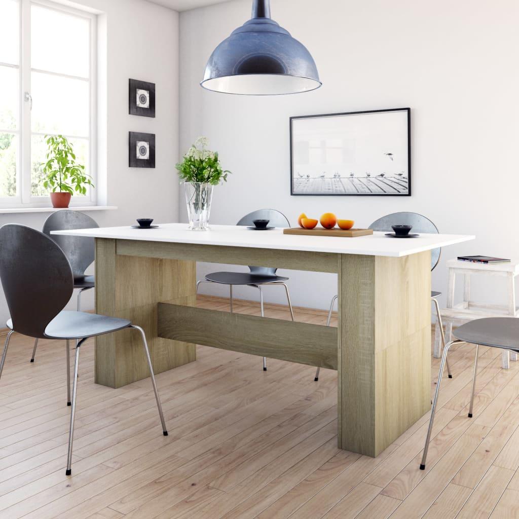 vidaXL Masă de bucătărie, alb și stejar Sonoma, 180 x 90 x 76 cm, PAL poza 2021 vidaXL