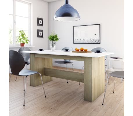 """vidaXL Dining Table White and Sonoma Oak 70.8""""x35.4""""x29.9"""" Chipboard[1/6]"""