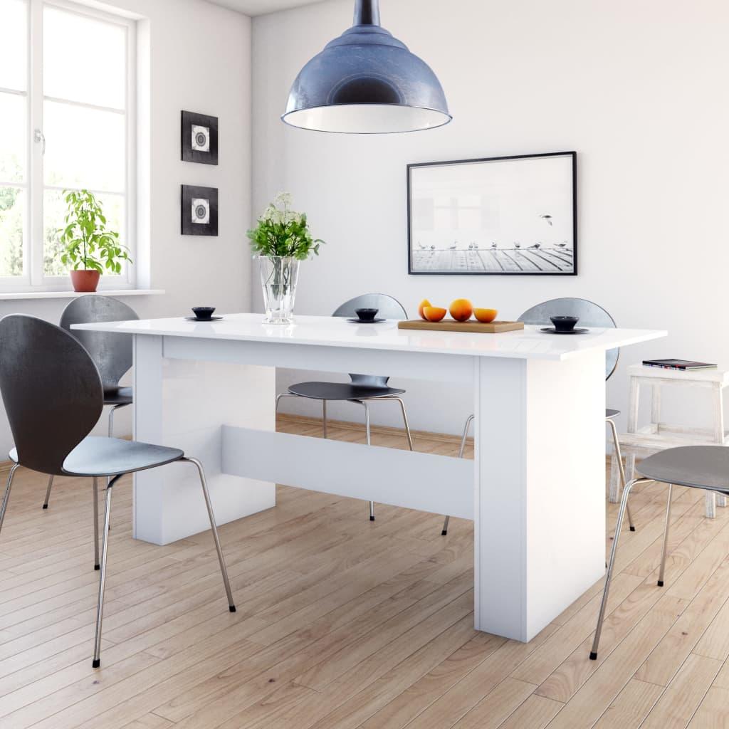 vidaXL Masă de bucătărie, alb foarte lucios, 180 x 90 x 76 cm, PAL vidaxl.ro